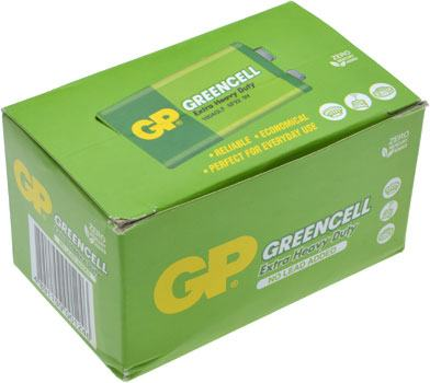 9V Batteries 10 Pack Extra Heavy Duty Greencell