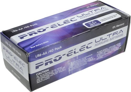 AA Batteries Alkaline Bulk Pack of 40 Pro-Elec Ultra