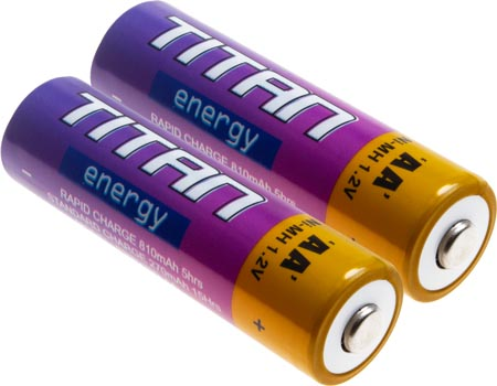 Photo of a 2 pack of AA 2700mAh NiMH batteries.