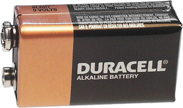 Photo of a Duracell 9V alkaline battery cell.