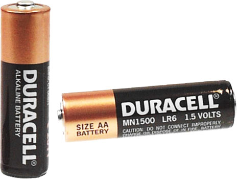 Photo of a Duracell AA alkaline battery cell.