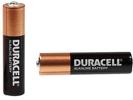 Photo of two Duracell AAA alkaline battery cells.