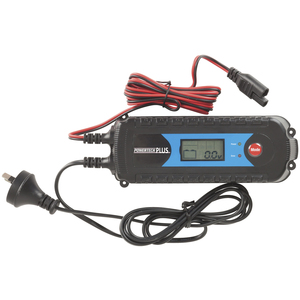 Top-down photo of a 4 stage 6 volt and 12 volt 4 amp battery charger with an LCD display.