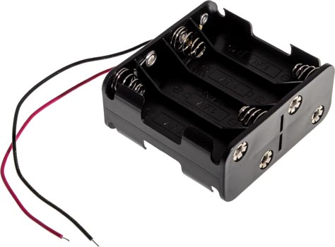 Photo of a battery holder that holds eight AA batteries.