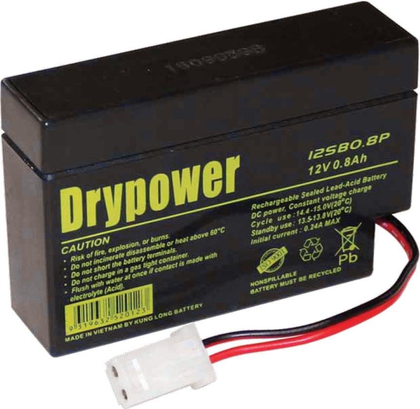Photo of a Drypower 12V 0.8Ah sealed lead acid (SLA) battery.