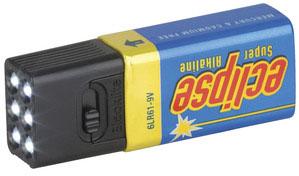 Photo of a blocklite LED (light emitting diode) nine voltage battery light.