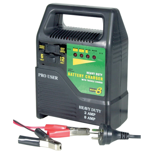 Photo of a 6 volt and 12 volt, 8 amp heavy duty car battery charger with trickle charge.