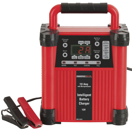 Photo of a 12V 10A intelligent switchmode 5 stage battery charger.