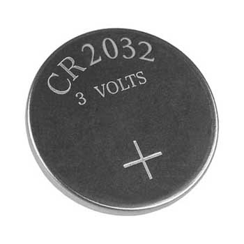 Photo of a CR2032 lithium battery.