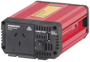 Photo of a 400W 12VDC to 240VAC modified sine wave inverter with USB that has a 1200W surge.