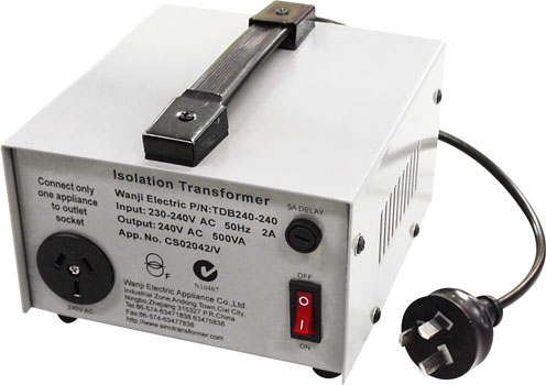 Photo of a two amp isolation transformer.