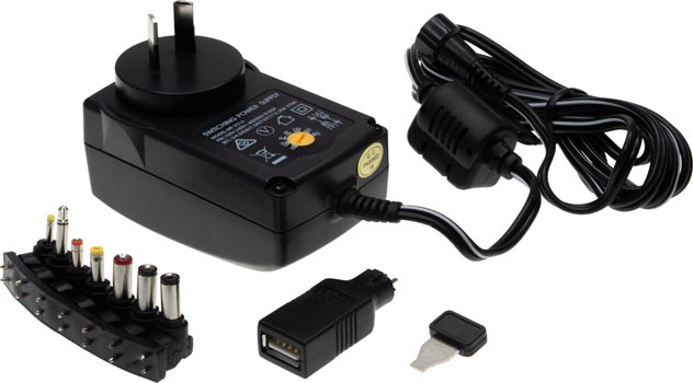Photo of a 2250mA multivoltage plug pack with 7 adaptors with USB.