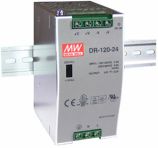 Photo of a Meanwell DR-120-24 model power supply.