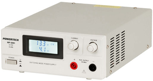 Photo of a 3-15VDC 40AMP laboratory power supply.