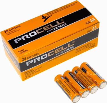 Photo of a 24 pack of Procell AA alkaline batteries.