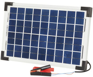 Photo of a 12 volt 10 watt mono crystalline solar panel that is 385mm wide and 253mm tall.