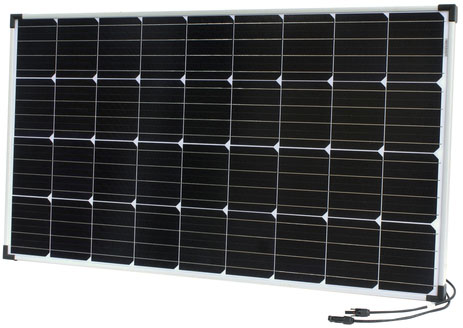 Photo of a 12 volt 120 watt monocrystalline solar panel that is 1179mm in length and 664mm in height.