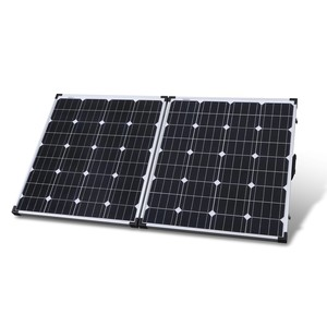 Photo of a 12V 160W folding solar panel with a 5m lead.