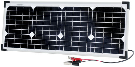 Photo of a 12 volt 20 watt monocrystalline solar panel that is 661mm in width and 259mm in height.