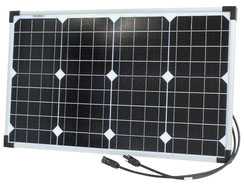 Photo of a 12 volt 40 watt monocrystalline solar panel that is 661mm wide and 402mm tall.