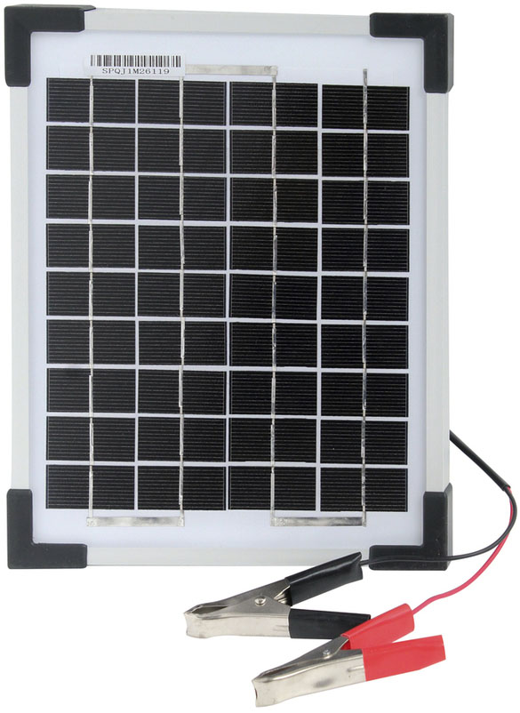 Photo of a 12 volt 5 watt monocrystalline solar panel that is 295mm wide and 255mm tall.