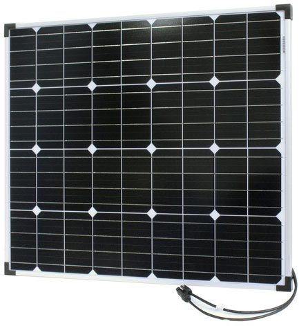 Photo of a 12 volt 80 watt monocrystalline solar panel that is 755mm wide and 661mm tall.