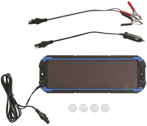 Photo of a 12V 1.5W solar trickle charger, taken from the front.
