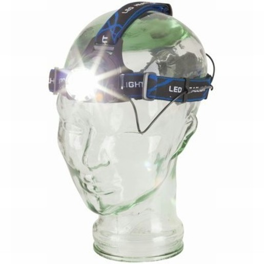 Photo of a Cree XML 550 lumen rechargeable head torch with adjustable beam.