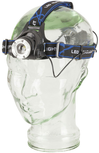 Photo of a Cree XML 550 lumen head torch with adjustable beam.