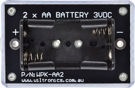 2 x AA Battery 3VDC. P/N: WPK-AA2. www.wiltronics.com.au