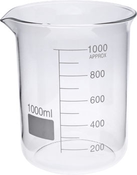 1000ml Glass Beaker Low Form GG17 Borosilicate