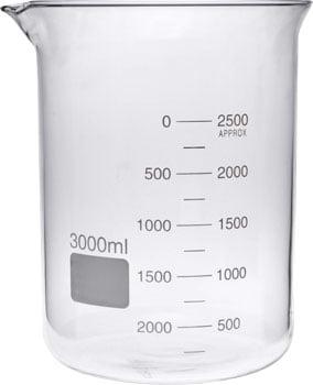 3000ml Glass Beaker Low Form GG17 Borosilicate Front