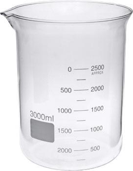 3000ml Glass Beaker Low Form GG17 Borosilicate