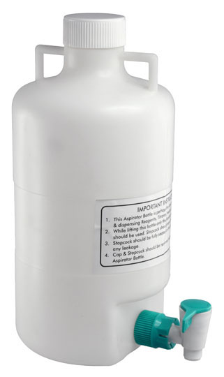 Photo of a 5 L polypropylene  aspirator bottle.