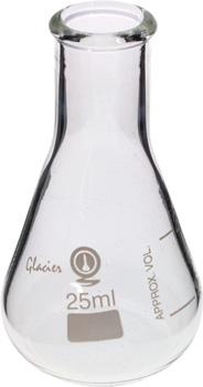 Photo of a 25ml narrow neck Erlenmeyer graduated flask.