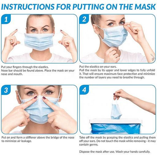 Face Mask - Instructions for putting on mask - Text instructions can be found in the description