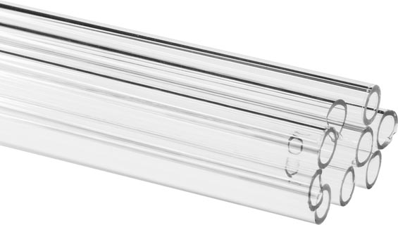 Photo of a 10 pack of hollow glass tubes with a 6mm diameter and a 1mm wall thickness.