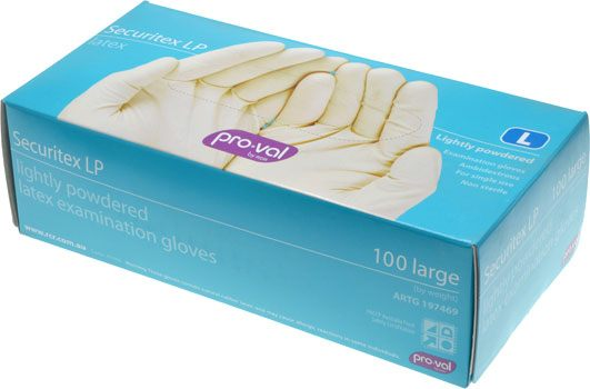 Pro-Val Securitex Lightly Powdered Latex Gloves Large - Box of 100