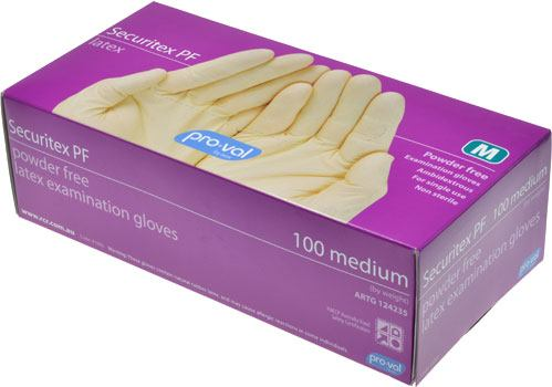 Pro-Val Securitex Disposable Latex Gloves Medium - Box of 100