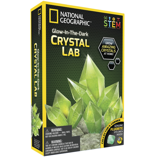 Photo of a glow-in-the-dark green crystal science kit.