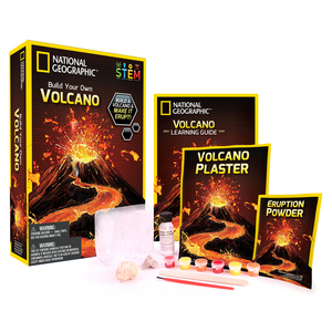 Photo of the contents of a volcano science kit.
