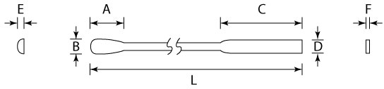 Dimension illustration showing the dimensions of a micro spoon and spatula.