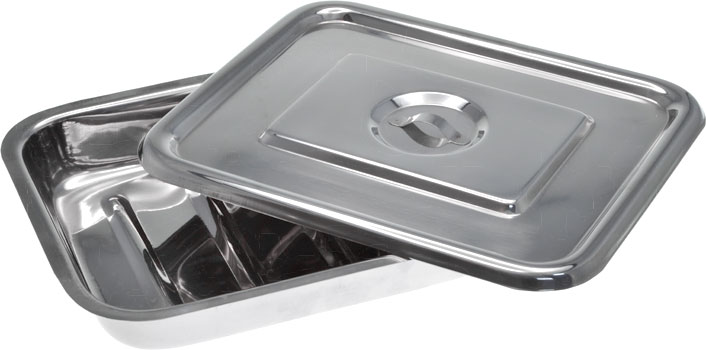 Stainless Steel Instrument Tray with Lid 250mm Open