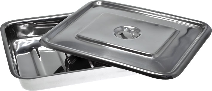 Stainless Steel Instrument Tray with Lid 300mm Open