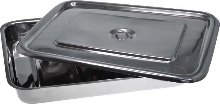 Stainless Steel Instrument Tray with Lid 375mm Open