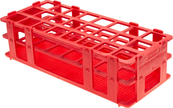 Photo of a test tube rack that can hold 24 25mm diameter test tubes.
