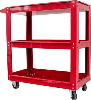 Photo of a red three tier red tool trolley with a 100 kilogram capacity.