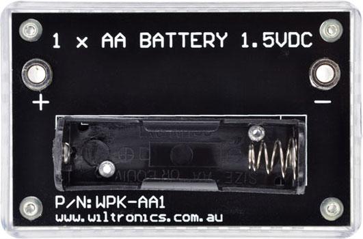 1 x AA Battery 1.5VDC. P/N: WPK-AA1. www.wiltronics.com.au