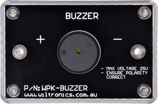 Buzzer. Max voltage 25V. Ensure polarity correct. P/N: WPK-BUZZER. www.wiltronics.com.au