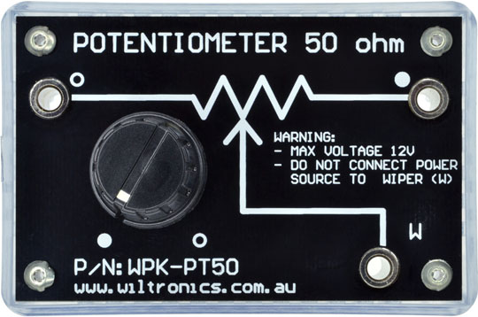 Potentiometer 50 Ohm. Warning: Max. voltage 12V. Do not connect power source to wiper (W). P/N: WPK-PT50. www.wiltronics.com.au